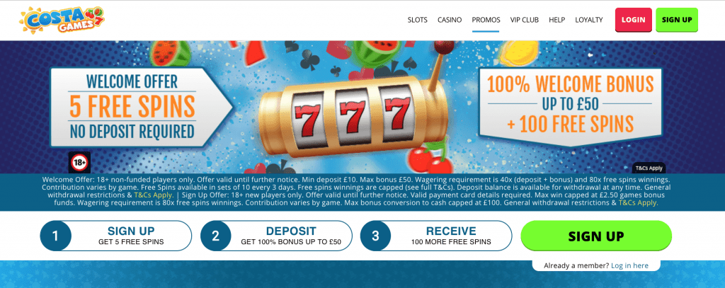 Play Costa Games 5 free spins no deposit required