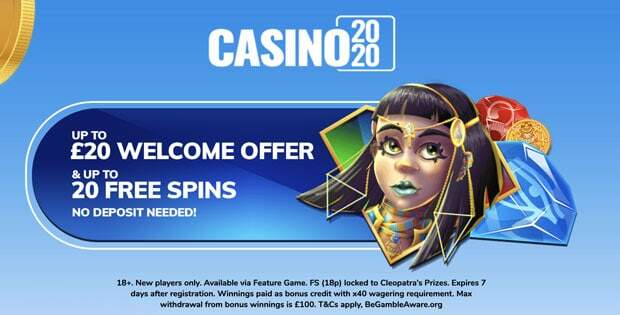 20 free spins and up to £20 bonus